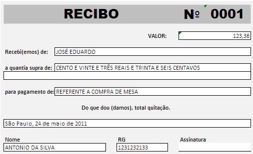 Ensinando excel for Recibo nomina excel gratis